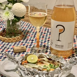 鮭ときのこのホイル焼きとオレンジワイン