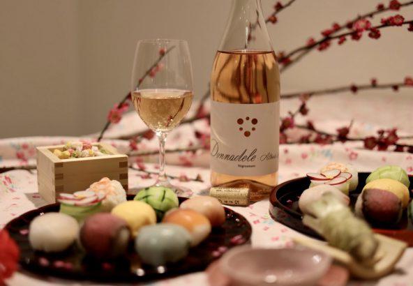 手毬寿司とロゼワイン